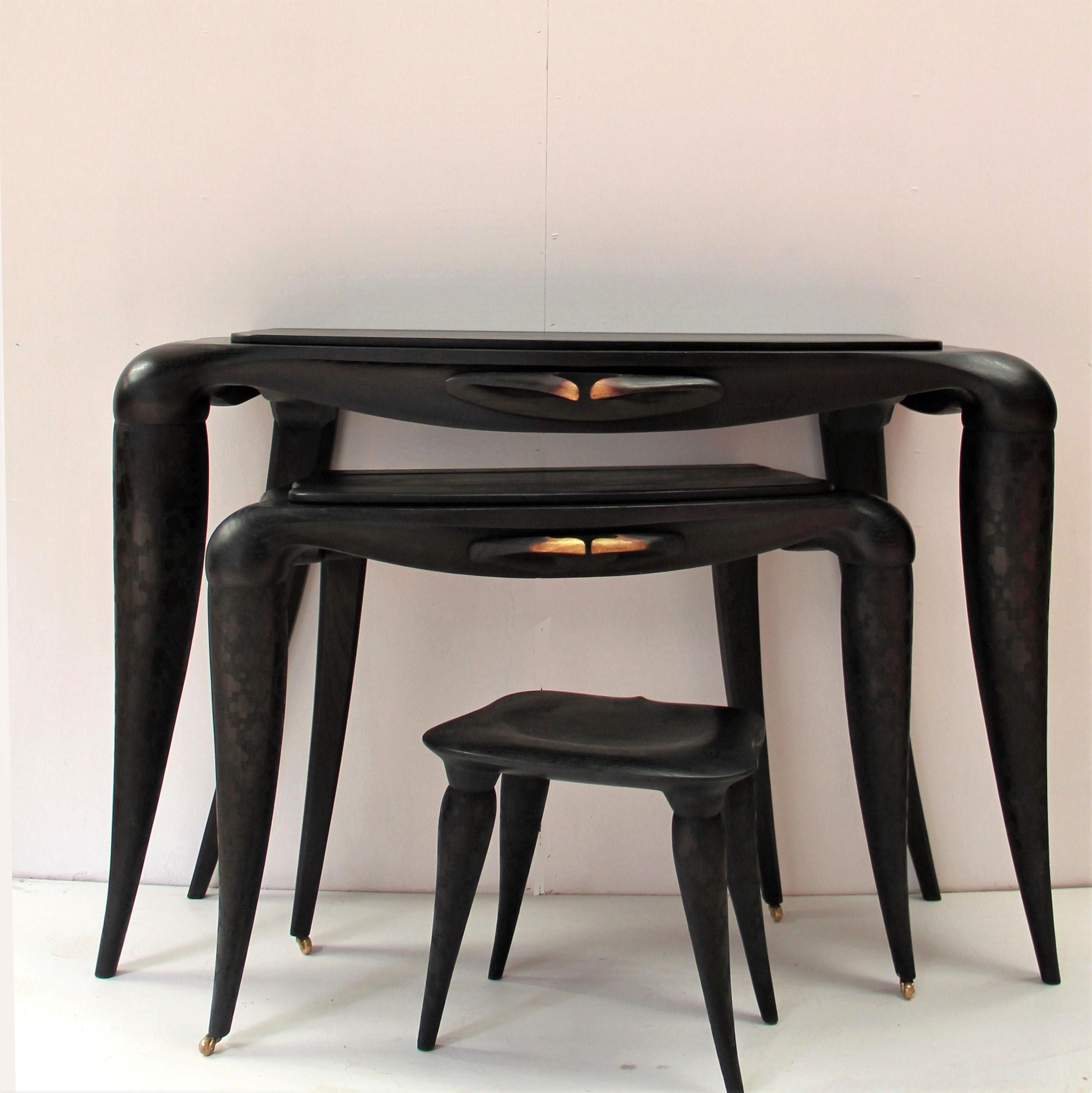 Famille Bonheur noir (console, bureau, tabouret)