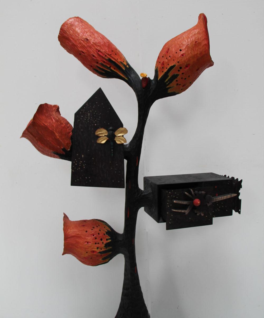 Chêne teinté et peint, 185 x 90 x 40 cm